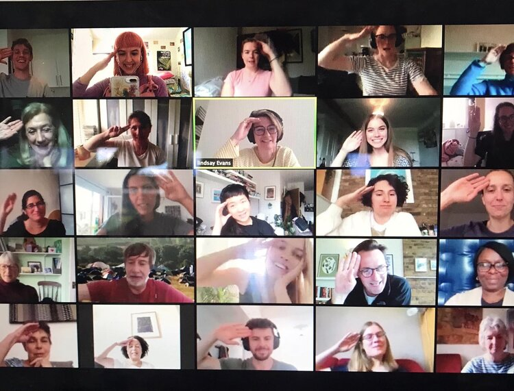 Volunteer crewmates take part in a Microsoft Teams virtual meeting